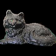 Vintage Hubley Cast Iron Black Persian Fireside Cat Metal Doorstop Door Stop #1248