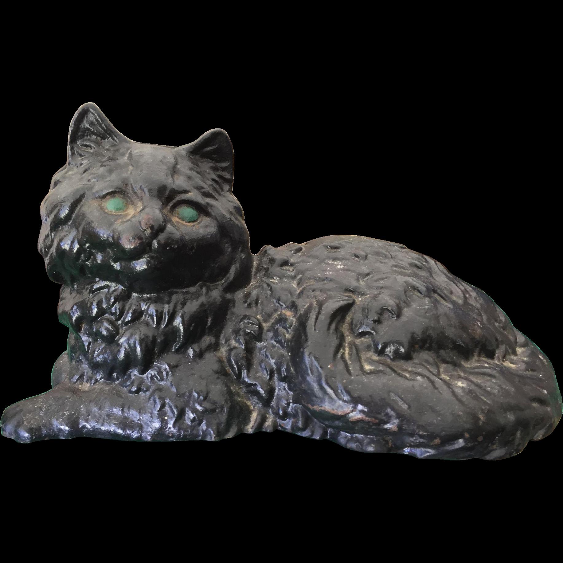 Vintage hubley cast iron black persian fireside cat metal doorstop from yourgrandmahadit on ruby - Cast iron cat doorstop ...