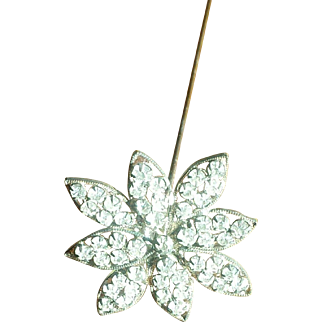 Antique Edwardian Long Rhinestone Flower Hat Pin