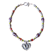 Beaded Czech Glass Necklace with Pewter Heart Horse Pendant