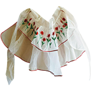 Vintage Red Floral Embroidered Sheer White Half Apron from Abraham and Straus