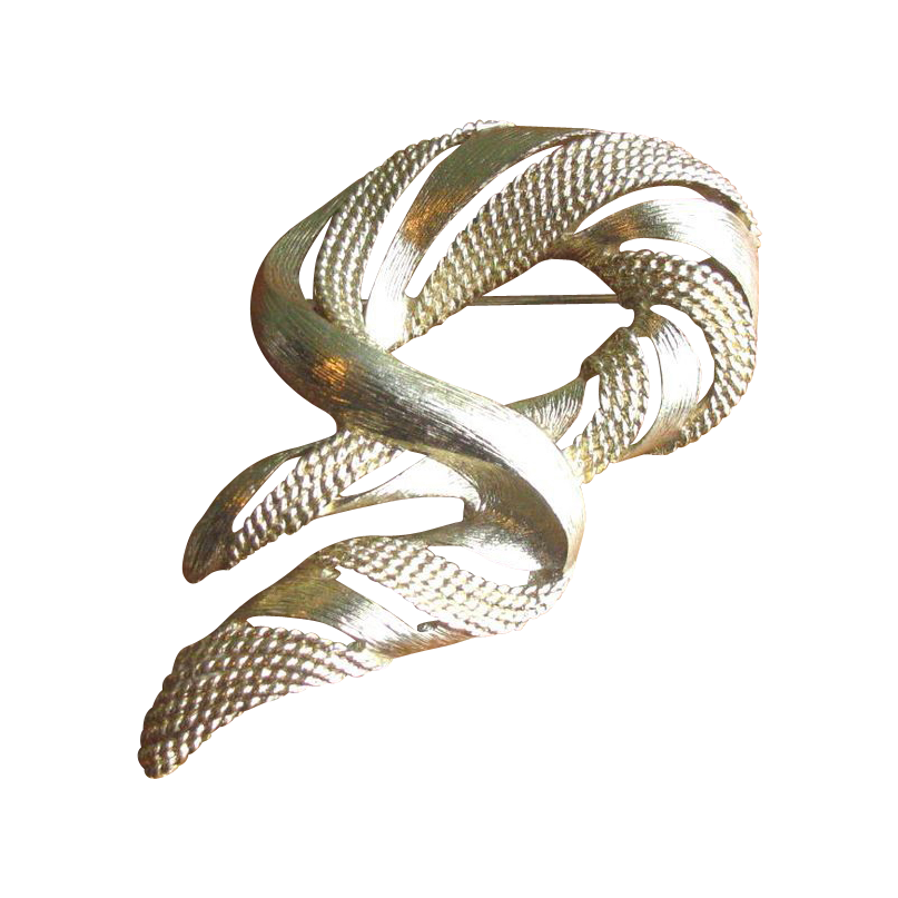 Vintage 1960's Monet Mod Swirl Brooch in Goldtone