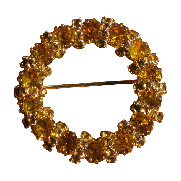 Vintage 1960's Juliana D & E Golden Rhinestone Circle Brooch