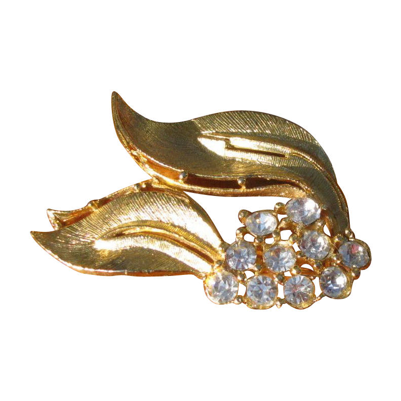 Vintage Brushed Goldtone and Rhinestone Leaf Brooch