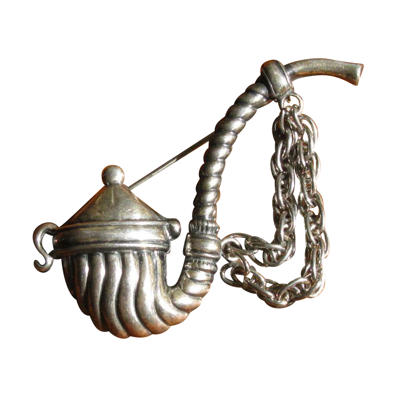 1940's Sterling Silver Ceremonial Pipe Brooch Pin by JewelArt