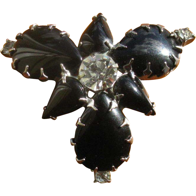 Vintage Black Glass & Rhinestone Brooch Pin