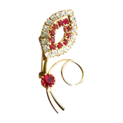 Vintage Red & White Rhinestone Swirl Brooch Pin