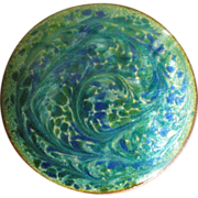 Vintage Blue Green Swirl Copper Enamel Brooch Pin