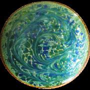 Vintage Blue Green Swirl Copper Enamel Brooch Pin