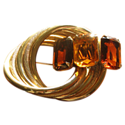 Vintage Marvella Amber Citrine Glass Circle Brooch