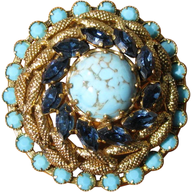 Vintage Rhinestone & Blue Art Glass Layered Brooch