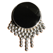 Vintage Taxco Sterling Silver & Onyx Brooch Pin - Signed