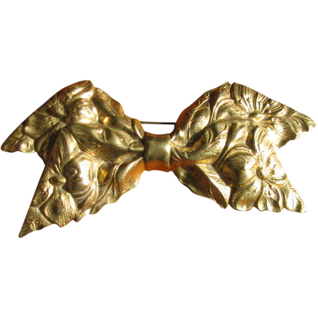 Art Nouveau Stamped Gilt Brass Bow Sash Pin or Brooch