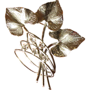 Vintage Carl Art Sterling and Rhinestone Leaf Brooch