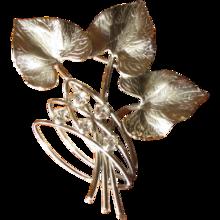 Vintage Carl Art Sterling and Rhinestone Leaf Brooch