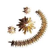 Vintage 1970s Avon Starflower Demi Parure with Bracelet, Brooch and Earrings
