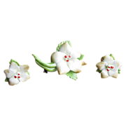 Vintage Staffordshire Bone China Flower Brooch and Earrings Set