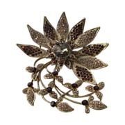 Vintage Large Crystal Rhinestone Flower Brooch