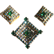Vintage Green Aurora Borealis Rhinestone Brooch and Earrings Set