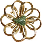 Vintage Green Aventurine and Goldtone Flower Swirl Brooch
