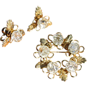 Vintage 1960's Crackle Glass Circle Brooch & Earrings Set