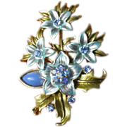 Vintage Blue and Pink AB Rhinestone Enamel Flower Bouquet Brooch