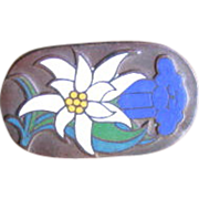 Vintage C. Poellath Enamel Edelweiss Floral Brooch Pin
