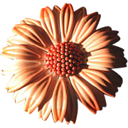 Vintage Mod 1960's Peach Flower Brooch