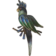 Vintage 800 Silver Filigree and Enamel Figural Parrot Pin