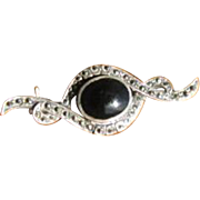 Vintage 1920's Sterling Silver, Onyx & Marcasite Swirled Bar Brooch