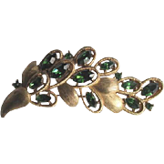 Vintage 1960's Crown Trifari Emerald Green Rhinestone Leaf Brooch