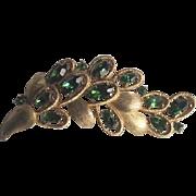 Vintage 1960's Crown Trifari Emerald Green Rhinestone Leaf Brooch