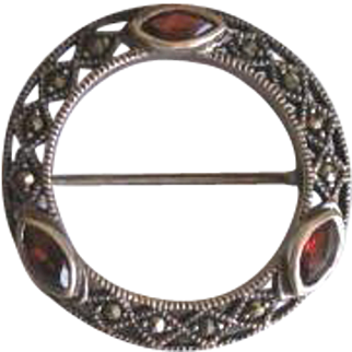 Vintage 1940's Sterling Silver and Marcasite Circle Brooch with Ruby Red Crystals