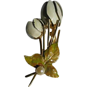 Vintage White and Pale Green Enamel Tulip Pin in Goldtone