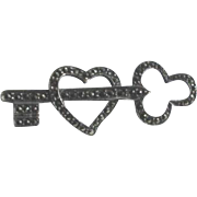 Vintage Sterling Silver and Marcasite Heart Key Pin