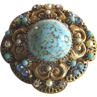 Vintage 1960's Florenza Rhinestone and Blue Glass Ornate Brooch with Pendant Loop