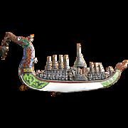 Vintage Siam Silver Figural Enamel Dragon Boat Pin