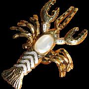 Vintage Faux Damascene Lobster Pin