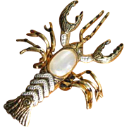 Vintage Faux Damascene Lobster Pin