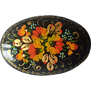 Vintage Floral Russian Lacquer Brooch