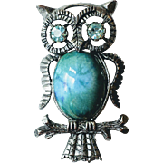 Vintage Jelly Belly Blue Eyed Figural Owl Brooch