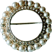 Vintage Faux Pearl and Rhinestone Circle Brooch