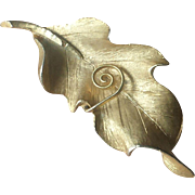 Vintage 1970s BSK Figural Leaf Brooch