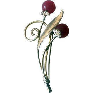 Vintage 1940s Van Dell Raspberry Moonglow Sterling Pin