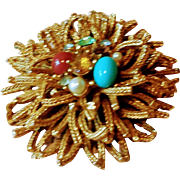 Vintage 1950s Layered Multi Colored Bead and Rhinestone Brooch