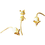Vintage Figural Cat and Mouse Scatter Pins - Set of 3