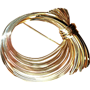 Vintage Napier Goldtone Wire Wrap Large Bow Brooch