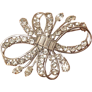 Vintage 1950's Sterling Silver and Rhinestone Bow Brooch from Carl Art