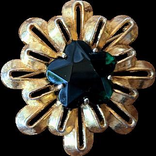 Vintage Tiered Sunburst Brooch with Emerald Green Star