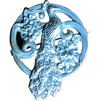 Vintage 1930's Peacock Figural Brooch 800 Silver